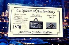 ACB Palladium 99.9 Pure 1 GRAM with COA Precious Metal Very Rare Bullion PD Bar