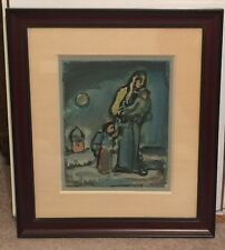 Original Georges Rouault Mother And Children Color Lithograph