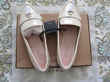 NEW ZARA ECRU Tasselled Patent leather Loafers Flat Shoes Size EU38 US 7.5