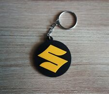 SUZUKI Keychain Key ring Black Yellow Rubber Motorcycle Car Collectible Gift New