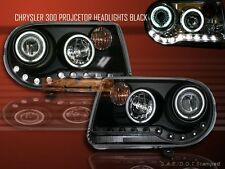 2005-2010 CHRYSLER 300C / SRT-8 PROJECTOR HEADLIGHTS BLACK TWO CCFL HALO LED