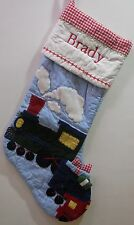 "New Pottery Barn Kids TRAIN QUILTED STOCKING Christmas ""BRADY""  *IMPERFECT*"