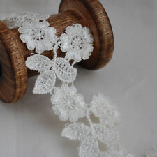 Guipure Lace Trim - Floral Cherry Flower Leaf - Bridal - Off White - 55mm Wide
