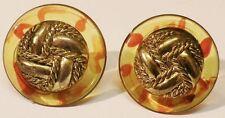 boucles d'oreilles clips rétro ronde effet ambré bijou vintage couleur or * 5076