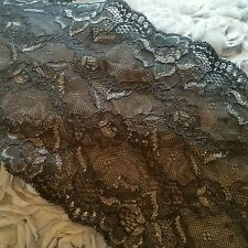 Beautiful black with beige detail double edge stretch nylon lace trimming