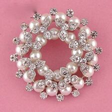 Charming Alloy Silver Rhinestone Crystal and Pearl Garland Wedding Brooch Pin