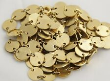 """VINTAGE RETRO GROOVY Jewelry GOLD DISC CHAIN LAYERING NECKLACE - 54"""""""