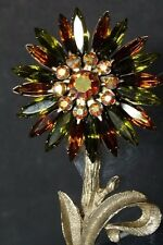 Beautiful Vintage Unique Green Brown & AB Rhinestone Sun Flower pin brooch