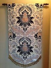 Silk Road Floral Damask Motive Silver Beige Jacquard Woven Tapestry Wall Hanging