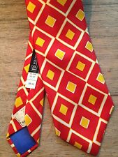 VINTAGE LANVIN PARIS SILK MENS NECKTIE BIG RED/YELLOW DIAMOND FOR BULLOCKS STORE