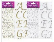 BEAUTIFUL GLITTER STYLISED ALPHABET SILVER STICKER TOPPERS FOR CARDS AND CRAFTS