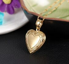 "24K Gold Plated Heart Locket Photo Picture Pendant Necklace 18"" Valentine's Gift"