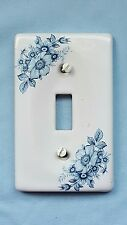 White Ceramic Single Light Switch Plate Cover Blue Corn Flowers Floral