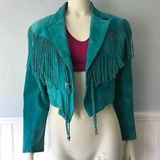 Scully Leather Womens Fringe Conchos Teal Suede Jacket Turquoise Size 6