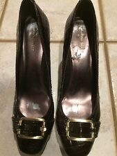"NINE WEST size 12 NWD  PATENT LEATHER Square toe - CHUNKY 3"" Heels"
