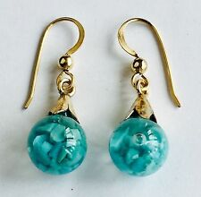 Rare Vintage Peruvian Floating Opal Earrings Gold Filled Hardware Snow Globes