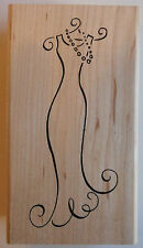 Party Glamour Dress Rubber Stamp - Wood Mounted