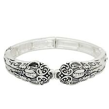 "Spoon Jewelry Bracelet Stretch Bangle Swirl Dotted SILVER Metal Classic 3/4""W"