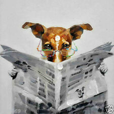 Dog reading newspaper canvas oil painting hand-painted modern abstract wall art
