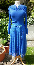 VINTAGE BLUE WOOL DAY DRESS WITH LACEY COLLAR - MADE IN SPAIN, NINA - 10 12