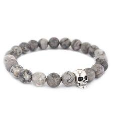 Men's 18kt White Gold Plating Skull Grey Jasper Elastic Gemstone Beaded Bracelet