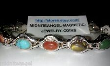 SILVER sp FAT OVAL SEMI PRECIOUS COLORFUL STONES MAGNETIC BRACELET** WOMEN TEENS