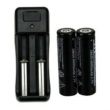 2pcs 18650 6000mAh 3.7V Li-ion Rechargeable Battery + Battery Charger AO