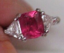 2.5 CT AGL CERT  UNHEATED No Heat COCKTAIL RUBY DIAMOND PLATINUM RING