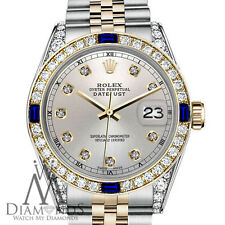 Rolex 36mm Datejust 2Tone Silver Color Dial with Sapphire & Diamond Accent RT