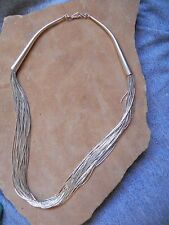 "NEW 30 Strand Liquid Sterling Silver Necklace 17 1/2"" Navajo"