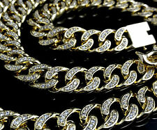 Men's New Yellow Gold Finish Diamond Simulate Cuban Curb Chain Necklace 125g 24""
