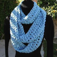 Light Blue INFINITY SCARF LOOP COWL Soft Thick Crochet Knit, Long Skinny Circle