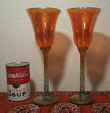 2 MAUI Hawaiian vtg Rick Strini studio art glass wine goblet champagne flute