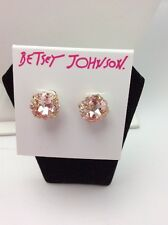 $25 Betsey Johnson Pink Faceted Stone Stud Earrings Marie Antoinette