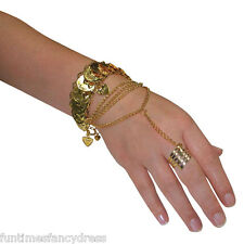 Egyptian Arabian Princess Gypsy Coin Hand Jewellery Belly Dancer Fancy Dress