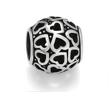 Stainless Steel Openwork Hearts European Beads For European Charm Bracelets