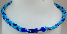 "NEW! 20"" Custom Clasp Braided Sports Royal Light Blue Tornado Necklace Twisted"