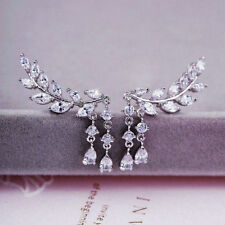 Women Fashion Gold Silver Crystal Zircon Leaves Tassel Ear Stud Earrings Jewelry