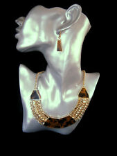 Classy Gold Tone Animal Print Black Brown Choker Style Necklace & Earring Set