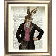 ART PRINT ON ORIGINAL ANTIQUE BOOK PAGE HARE Animal DICTIONARY Old RABBIT Dandy