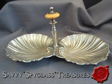 Silverplate and Bakelite Shell Tidbit Candy Server Castle W Crown