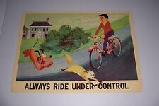 "1966 DISNEY BICYCLE SAFETY ALWAYS RIDE UNDER CONTROL 18""X13"" 102-I PLUTO"