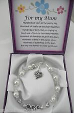 Mum  Mom Mam Nan Birthday Christmas present gift box and verse Pearl bracelet
