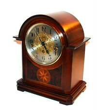 VINTAGE GERMAN HERMLE CLASSIC MAHOGANY WOOD INLAY WESTMINSTER MANTEL TABLE CLOCK