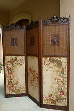 Antique French Carved Walnut Dressing Screen Panel Room Divider Tapestry Cane
