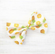 White with Yellow Pineapple print Pin Up large hair bow clip
