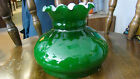 Vintage Green Cased Glass Scalloped Edge Electric Gas or Oil Lamp Shade