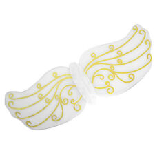 HALLOWEEN LADIES #WHITE ANGEL FAIRY WINGS WITH GOLD PATTERN NATIVITY FANCY DRESS