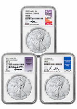 2017 Silver Eagle Set of 3 NGC MS70 First Day Issue Signed Lbls PRESALE SKU45066