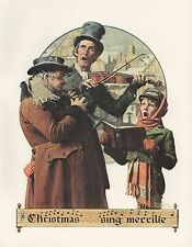 """1977 VINTAGE """"CHRISTMAS TRIO"""" by NORMAN ROCKWELL MINI POSTER COLOR Lithograph"""